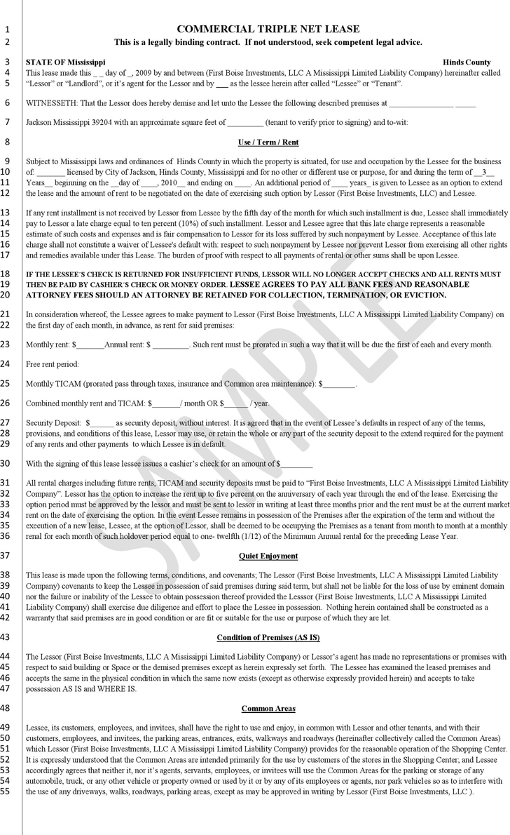 Mississippi Commercial Triple Net Lease Sample Download Free Printable Legal Rent And Lease Template Form In Different Edita Lease Being A Landlord Mississippi