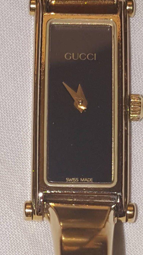 644cb16137950 Vintage Authentic GUCCI 1500 Black Dial Gold Plated Bangle Bracelet ...