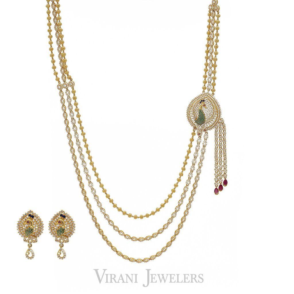 K gold cz ruby emerald peacock necklace and earrings set layered