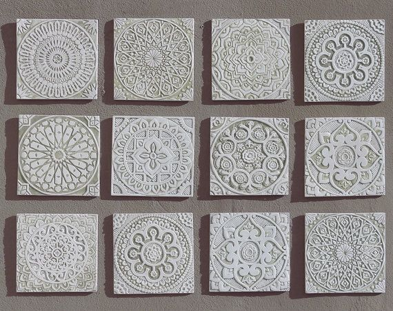 White outdoor wall art ceramic tiles for terrace walls garden decor