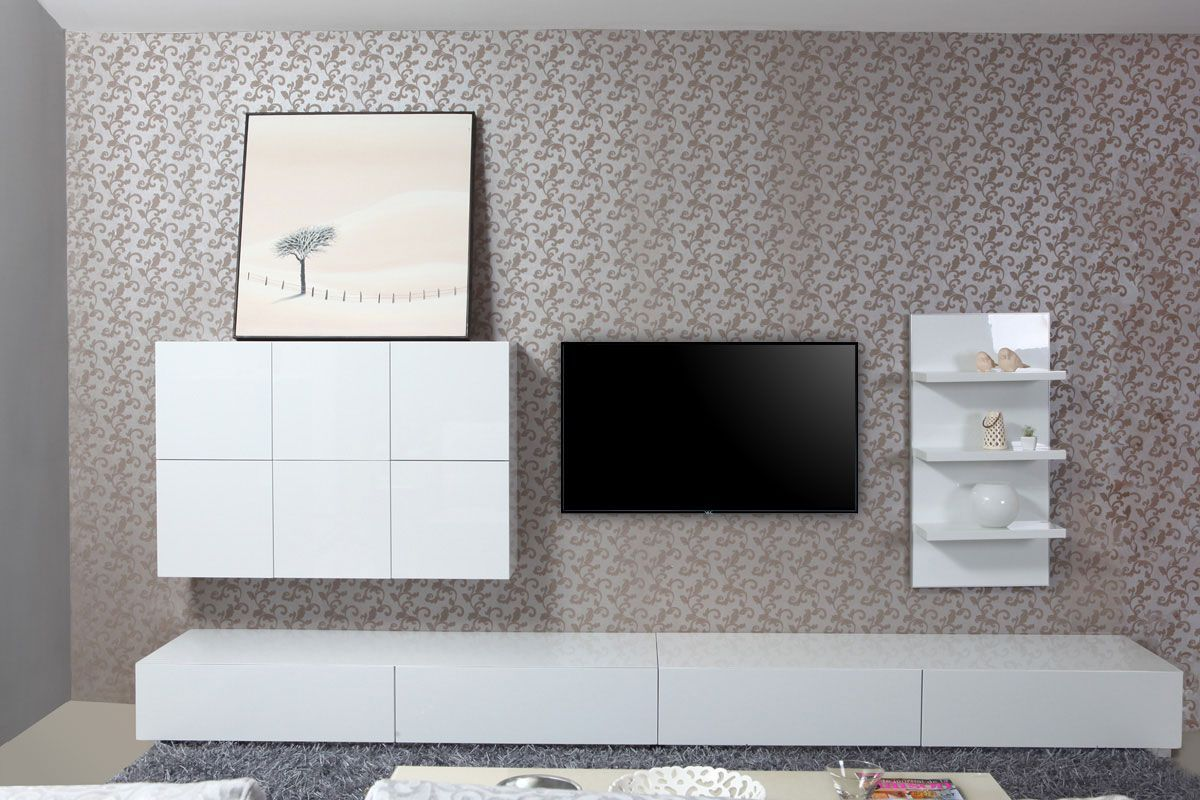 Miliboo Meuble Tv Ensemble Mural Tv Design Blanc Brillant Armadeon Meuble Tv
