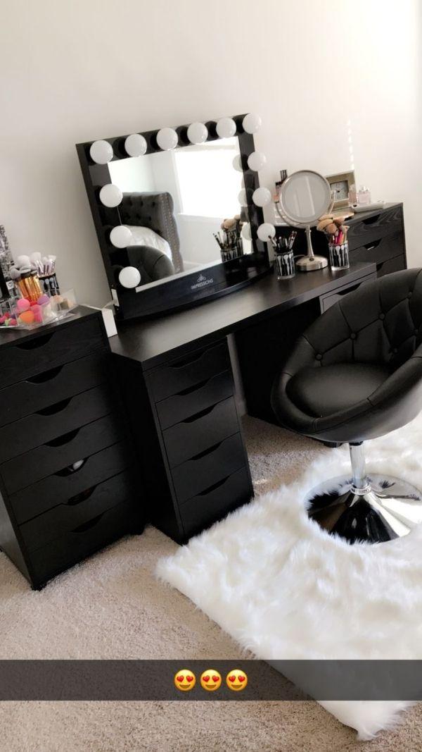 Beautiful Black Vanity Makeup Room Has Ikea Alex Drawers And