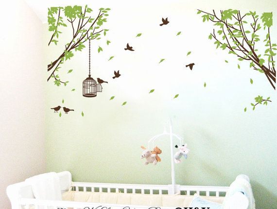 ecke zweig wand aufkleber vinyl baum wandtattoo baby von. Black Bedroom Furniture Sets. Home Design Ideas