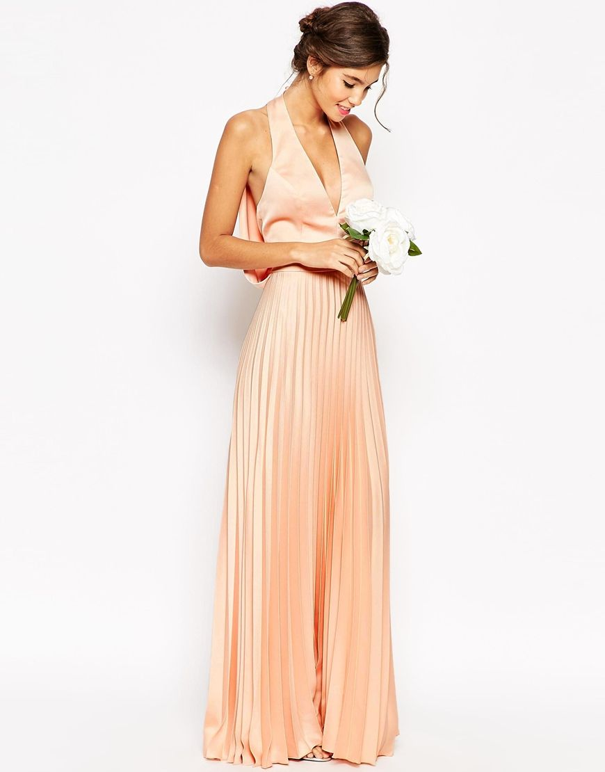 Peachy Halter neck long pleated maxi dress | wedding guest wear ideas | itakeyou.co.uk