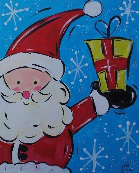 Cute Santa Claus Canvas Paint Idea For Wall Decor Painting Art Christmas