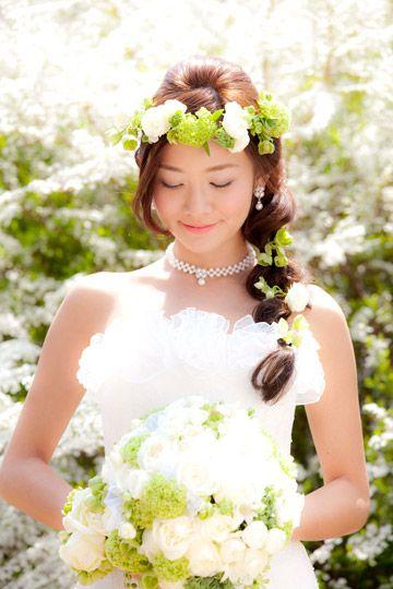 花嫁 髪型 花嫁 髪型 花冠 画像 : jp.pinterest.com