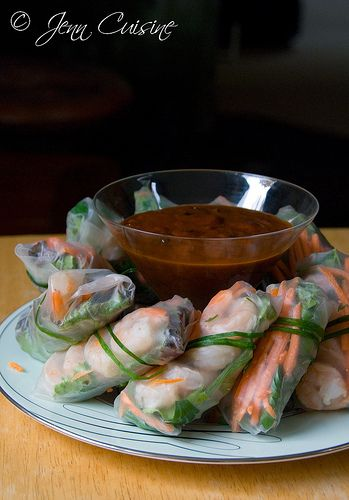 Spring Rolls with Spicy Peanut Dipping Sauce