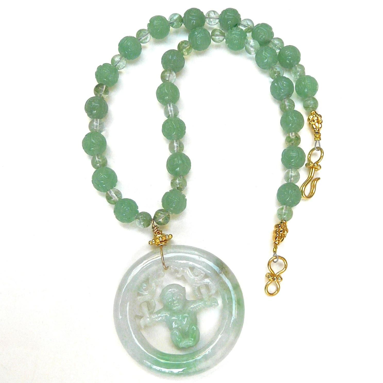 Green Jadeite Swinging Monkey, Carved Green Aventurine Necklace Jade  Necklace, Jade Jewelry, Jade