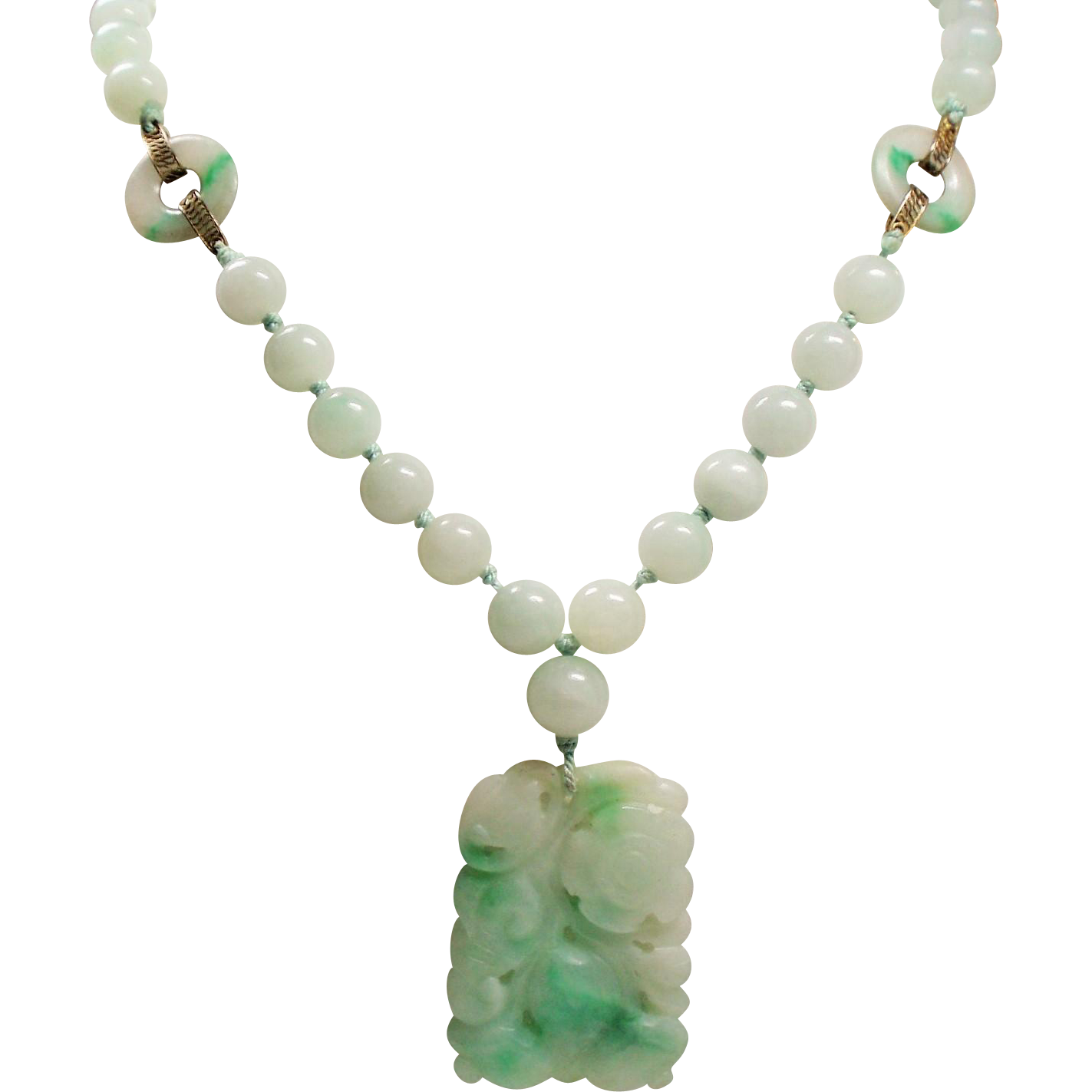 jade chinese necklace long art pin pendant deco vintage export carved bead