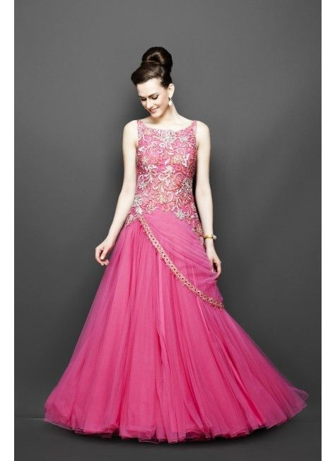 Indo Western Pink Gown Indian Weddings Pinterest Dresses