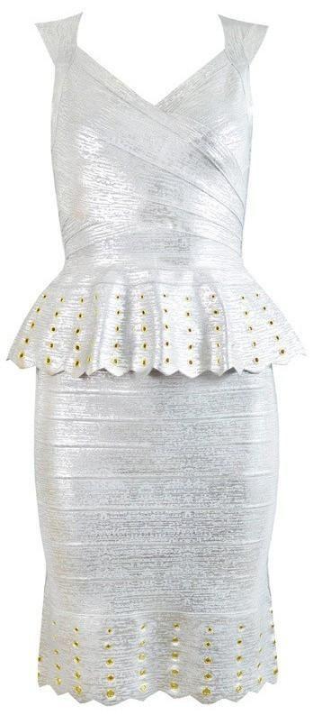Silver Foil Rivet Peplum Bandage Dress