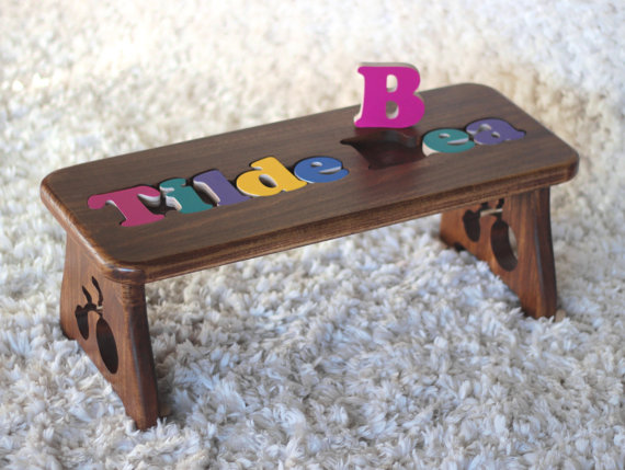 Peachy Two Name Puzzle Bench 4 Finish Options Personalized Baby Gmtry Best Dining Table And Chair Ideas Images Gmtryco
