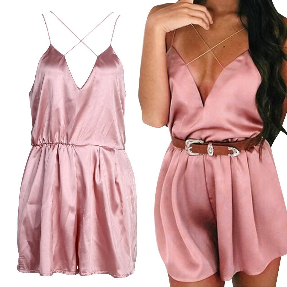 edb9708afa1 Women Jumpsuits Rompers Elegant Deep V Neck Pink Silk Satin Casual Beach  Playsuit Bodysuit Overalls