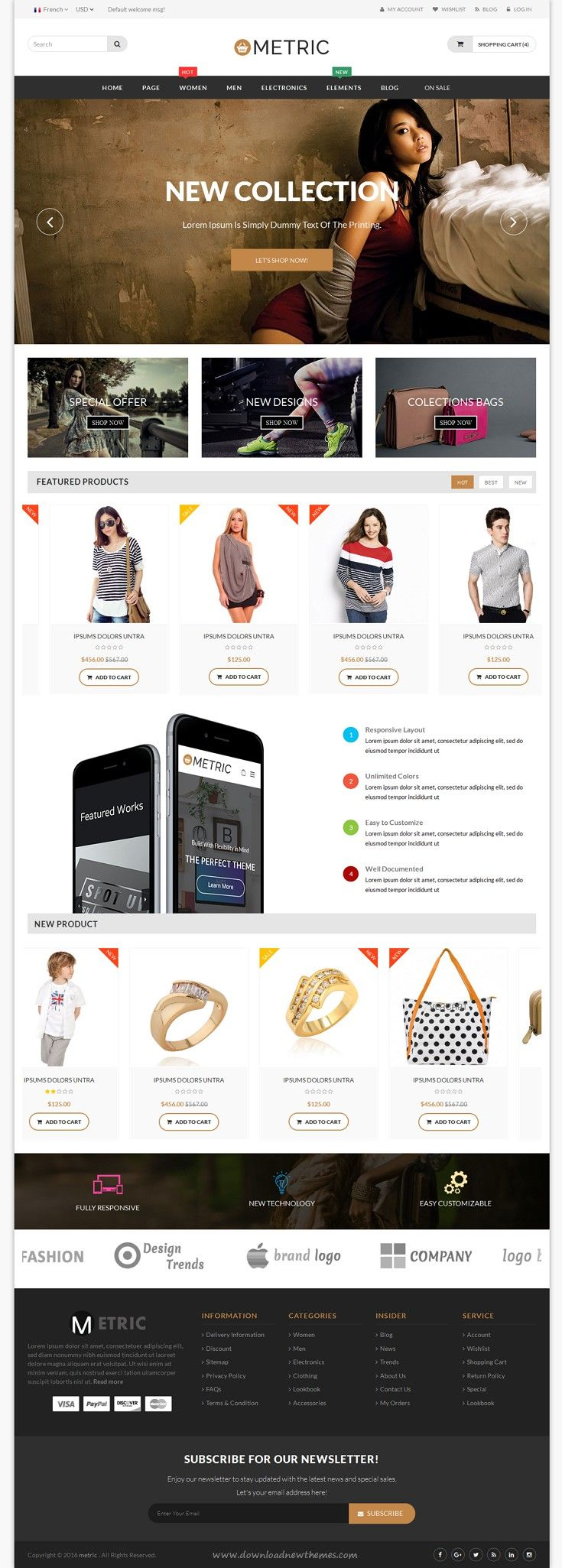 Metric Ultimate E Commerce Responsive Html5 Template Ecommerce