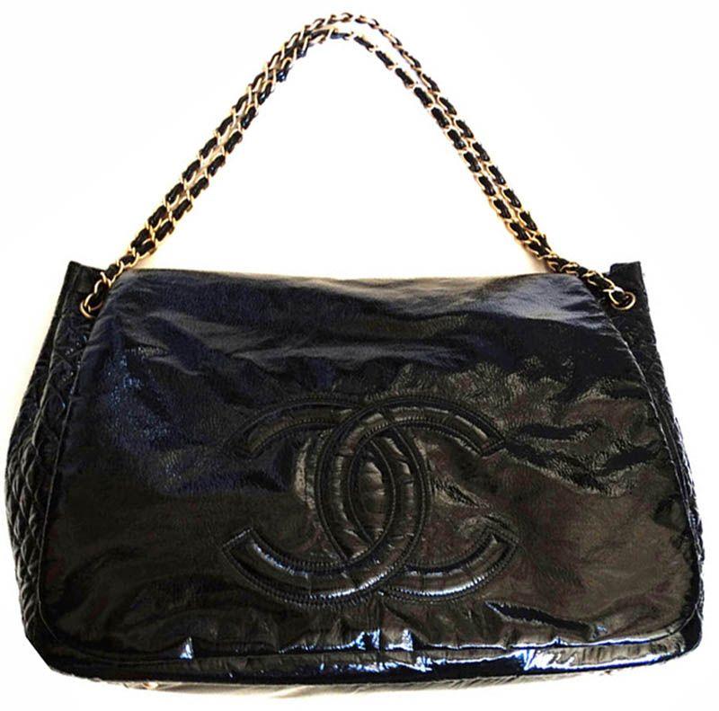 Chanel Designer Handbags Large Black Patent Vegan Leather Shoulder ...