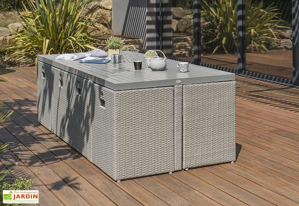 Salon De Jardin Resine Tressee Encastrable Gris 1 Table 8 Fts