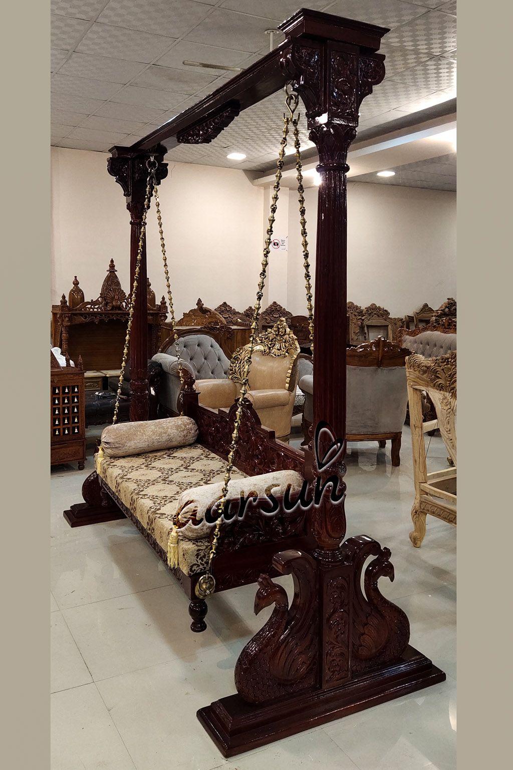 Handmade Wooden Jhoola Best Indoor Swings Swg 0040 In 2020 Living Room Partition Design Home Swing Room Swing