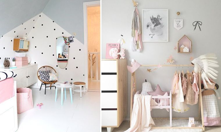 Inspiration d coration chambre d 39 enfant d coration scandinave couleurs pastels stickers pois for Chambre scandinave pastel