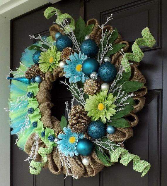 Green Blue Christmas Wreath With Flowers - Christm