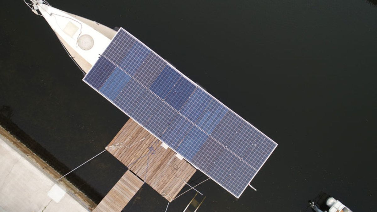 Twenty solar panels mounted on top of the boat's cabin provided the power to charge the batteries.