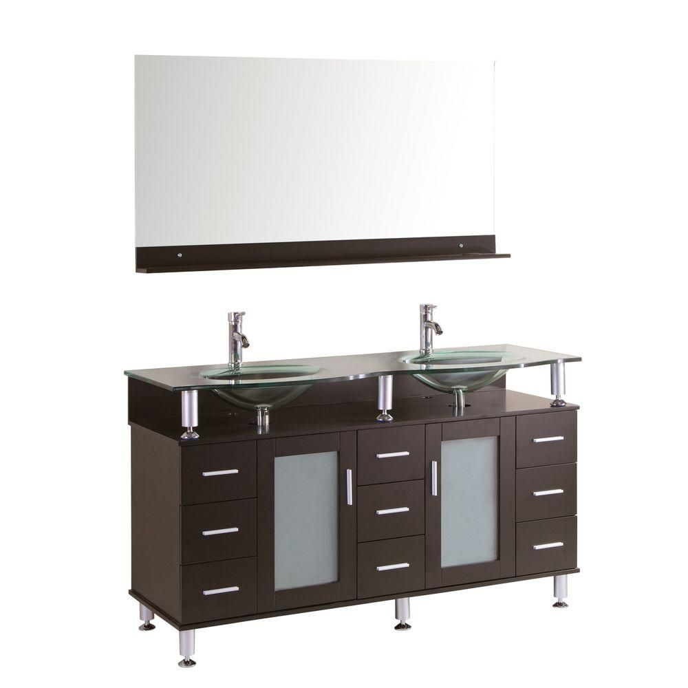 Kokols Cerviel 59 In W X 21 6 D Double Vanity Espresso With Glass Top Clear And Mirror 9097 The Home Depot Set