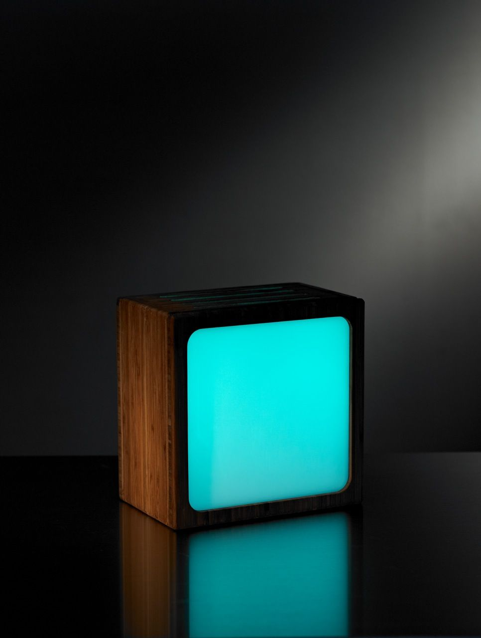 """Small (6"""" x 6"""") Looma Lamp with Blue Glass"""