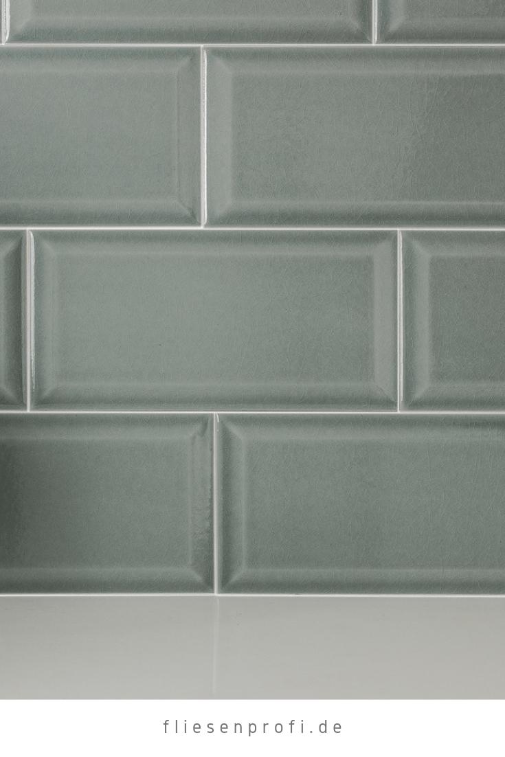 Metro Fliese krakeliert für Küche Bad Craquelé Krakelee grau-grün glänzend 10×20 Facettenfliese