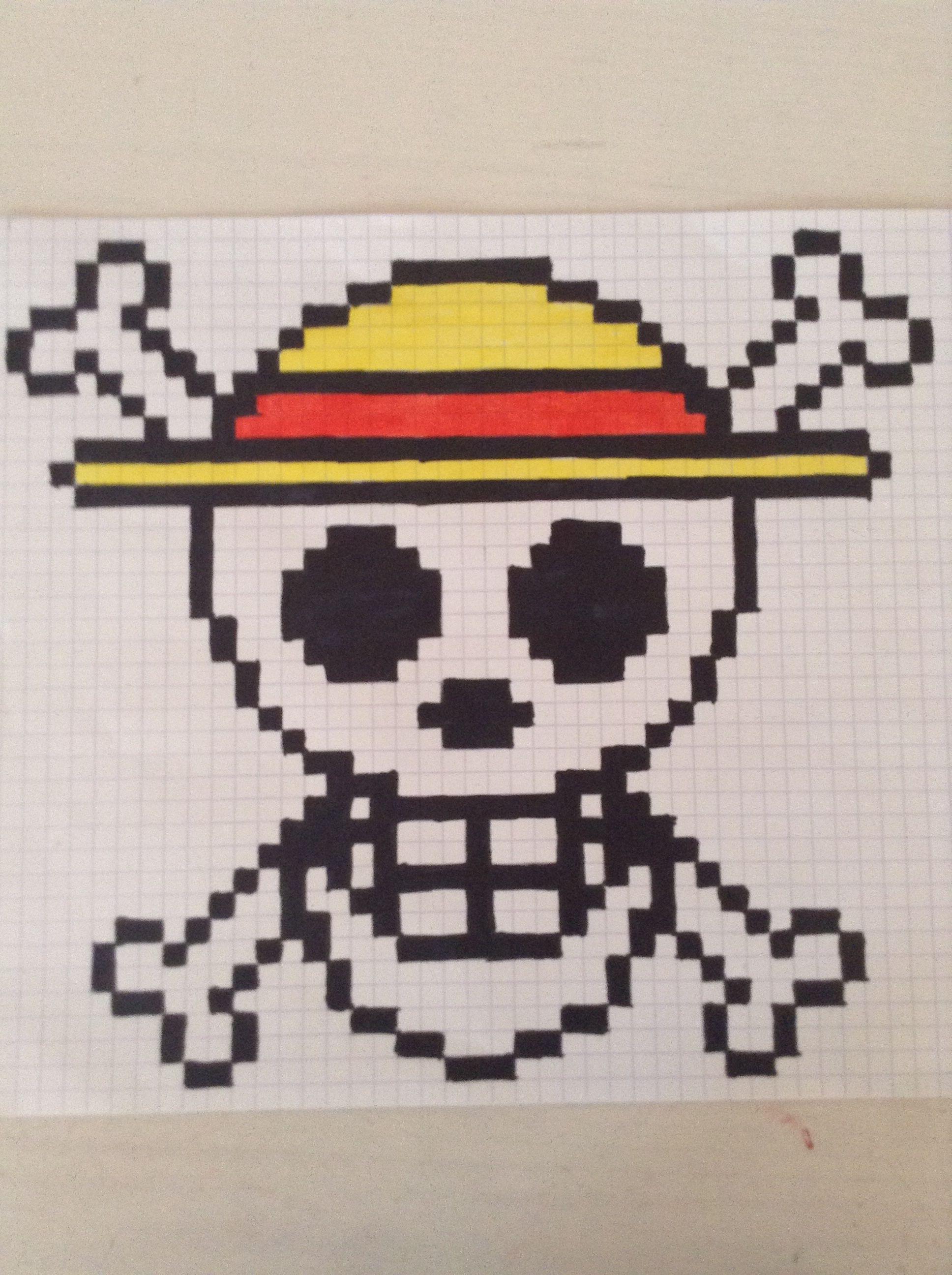 La t te de mort dans on peace en pixel mes dessins - Tete de mort facile ...