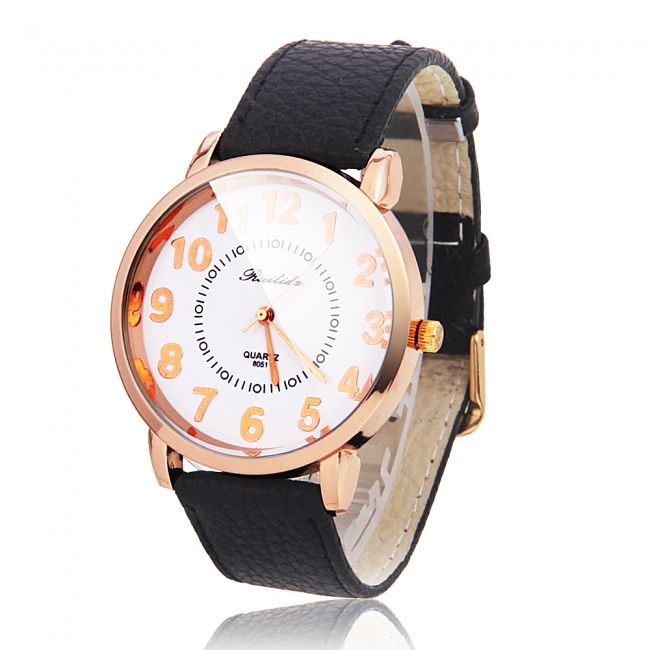 Men Women WL Alloy Case Leather Band Golden Numerals Quartz Wrist Watch Black White