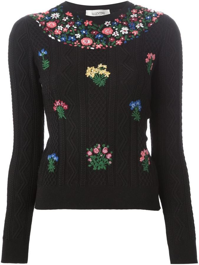 d75852263 seen in June Marie Claire. Valentino floral embroidered sweater | S ...