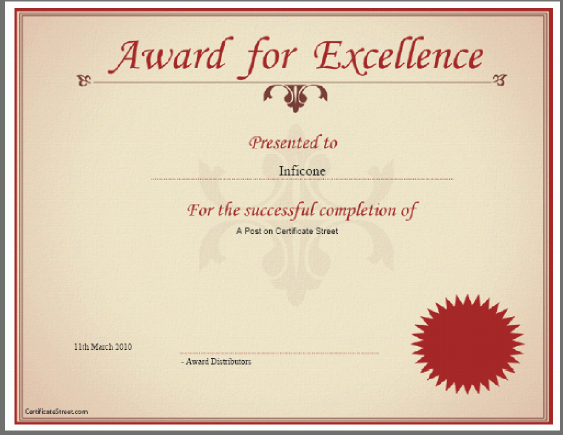 Blank Award Certificate Templates – Online Certificate Template