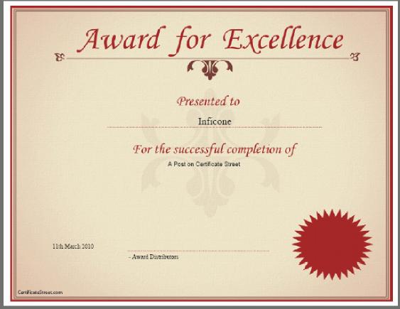 Blank Award Certificate Templates | Certificate Street Example ...