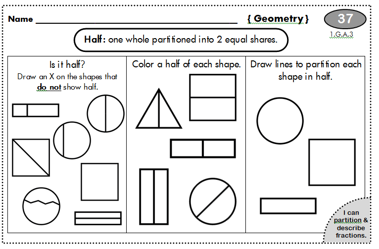 1st Grade Common Core Homework (100 days | Shapes, Math and School