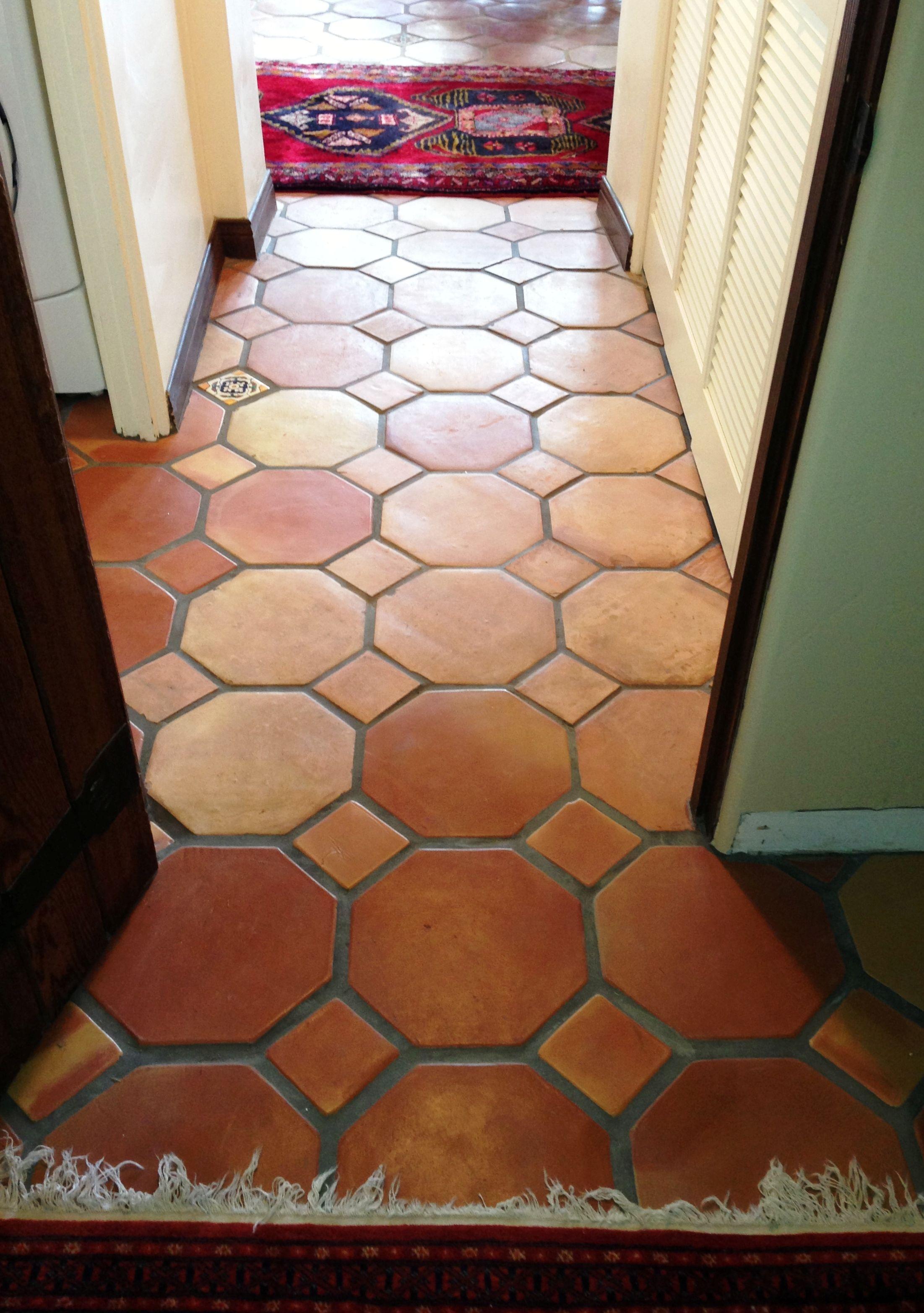 Blue 6x6 Tile Kids Bathroom With Mexican Tile Accent: 12x12 Octagon Pattern Saltillo Terra Cotta Floor Tiles