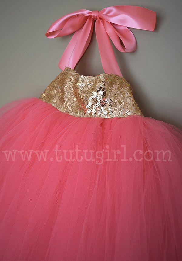 42d27ce47 Coral & Gold SEQUIN TUTU DRESS | TUTU DRESSES for Flower Girls ...