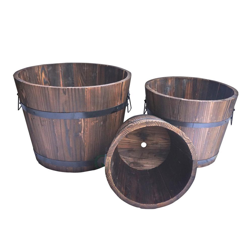 Gardenised Extra Large Wooden Whiskey Barrel Planters Set 400 x 300