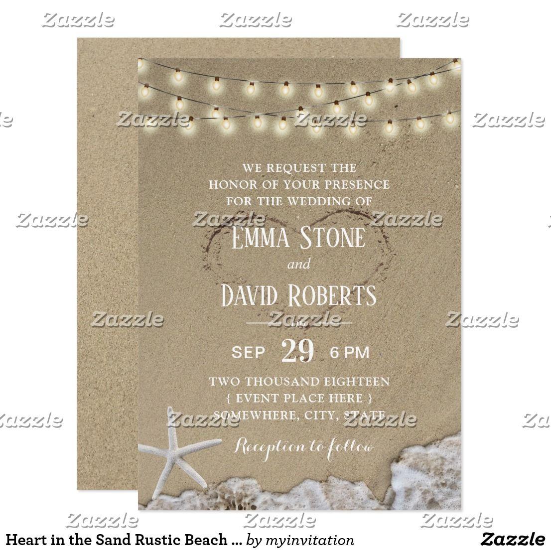 Zazzle Wedding Invitations.Heart In The Sand Rustic Beach Wedding Invitation Zazzle Com In