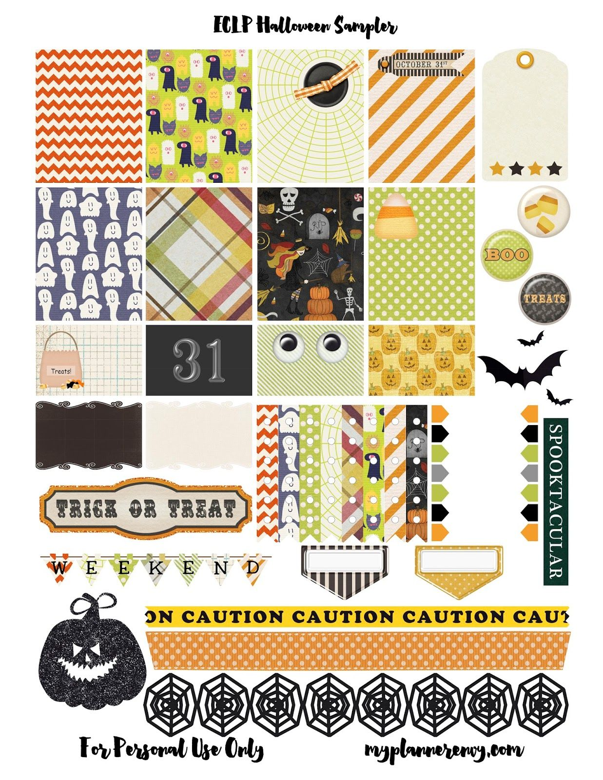 free printable halloween sampler planner stickers pdf jpg and