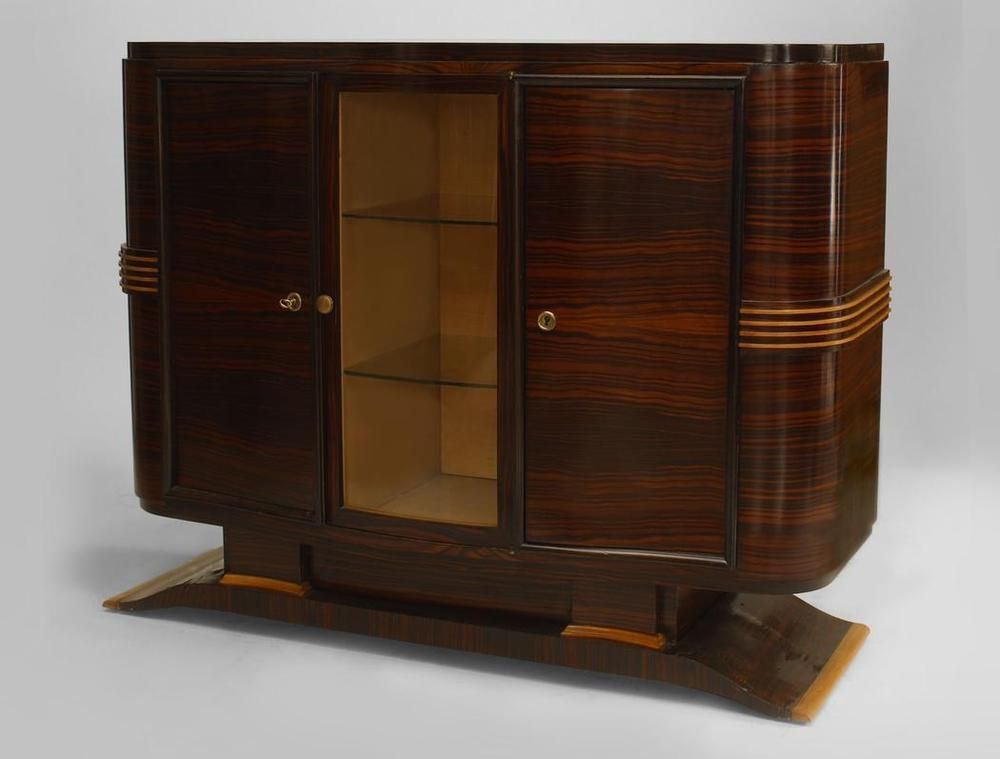 French Art Deco palisander sideboard cabinet with light wood trim and 3 doors (1