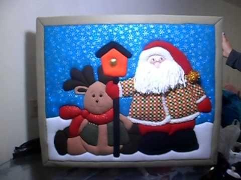 Cuadros navideños en patchwork, Trabajado con telas importadas de ...