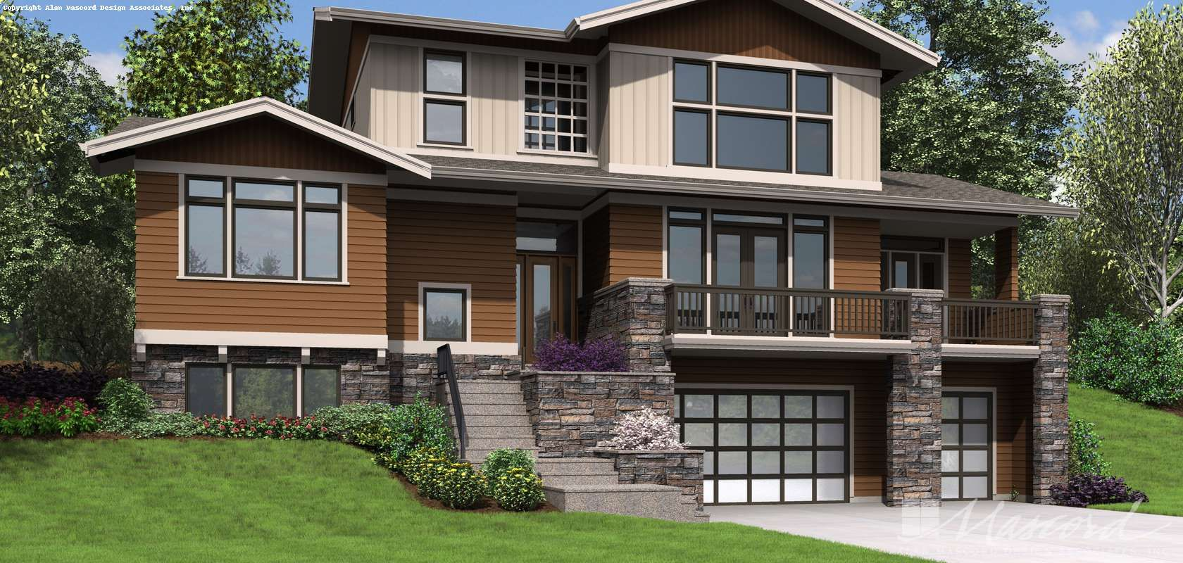 Mascord House Plan 23110 The Milwaukee With Images Sloping Lot House Plan House Plans Contemporary House Plans