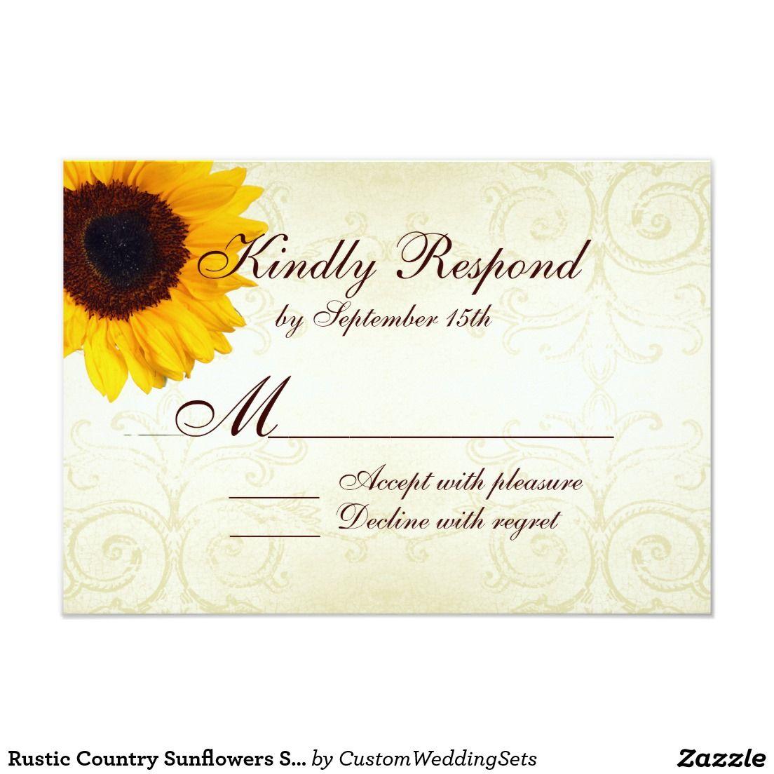Rustic Country Sunflowers Swirls Wedding RSVP Card
