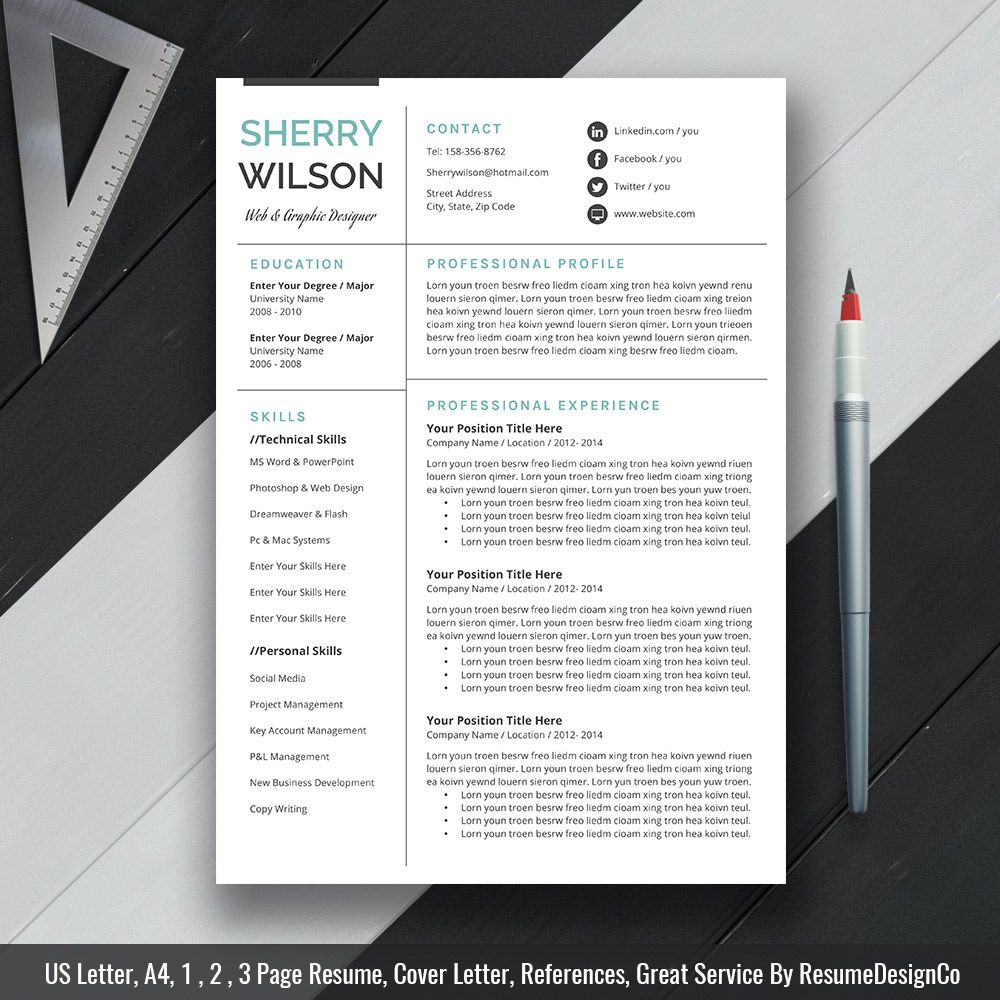 Instant Download The Sherry Resume  Professional Resume Template