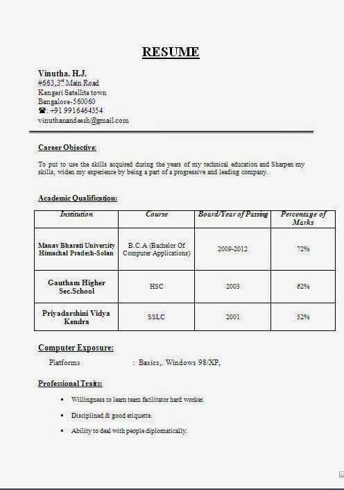 Word Format Resume Free Resume Format For B 100 Images Sle Resume In Word Format