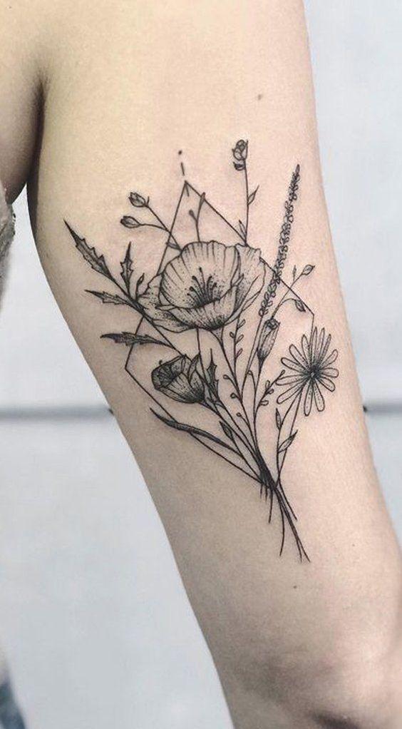 Cute black wild flower arm tattoo ideas for women – beautiful tattoo ideas from #flowertattoos – flower tattoo designs #flowertattoos in 2020 | Flower tattoo arm, Flower tattoo shoulder, Vintage flower tattoo