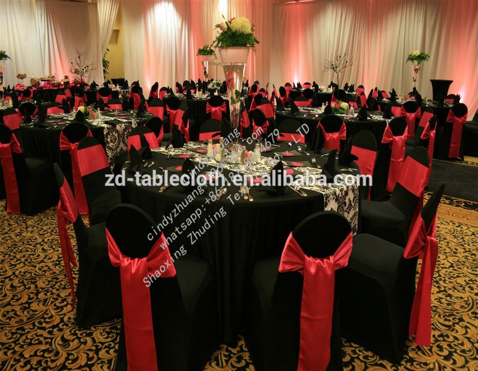 Black Slip On Wedding Chair Cover With Red Satin Sashes Chair Covers Wedding Black Chair Covers Wedding Table Ideas Red