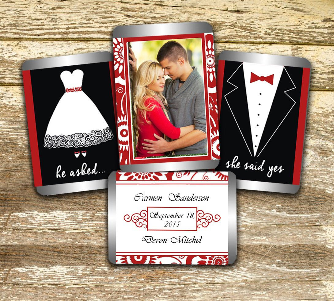 Hershey Mini Candy Wrappers - Wedding Wrappers, Red and White ...