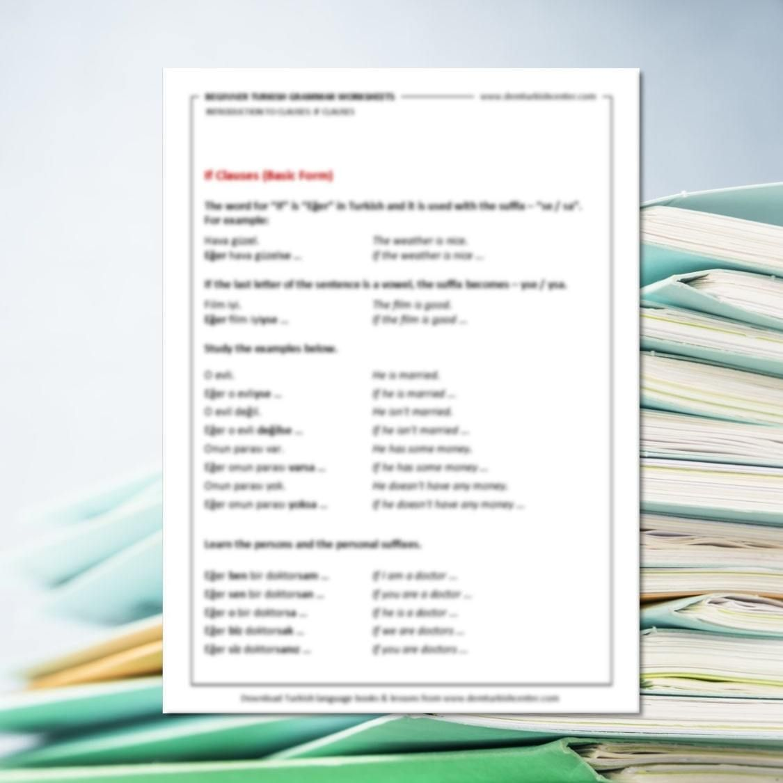 Turkish Grammar Worksheets If Clauses Amp Adjective Clauses