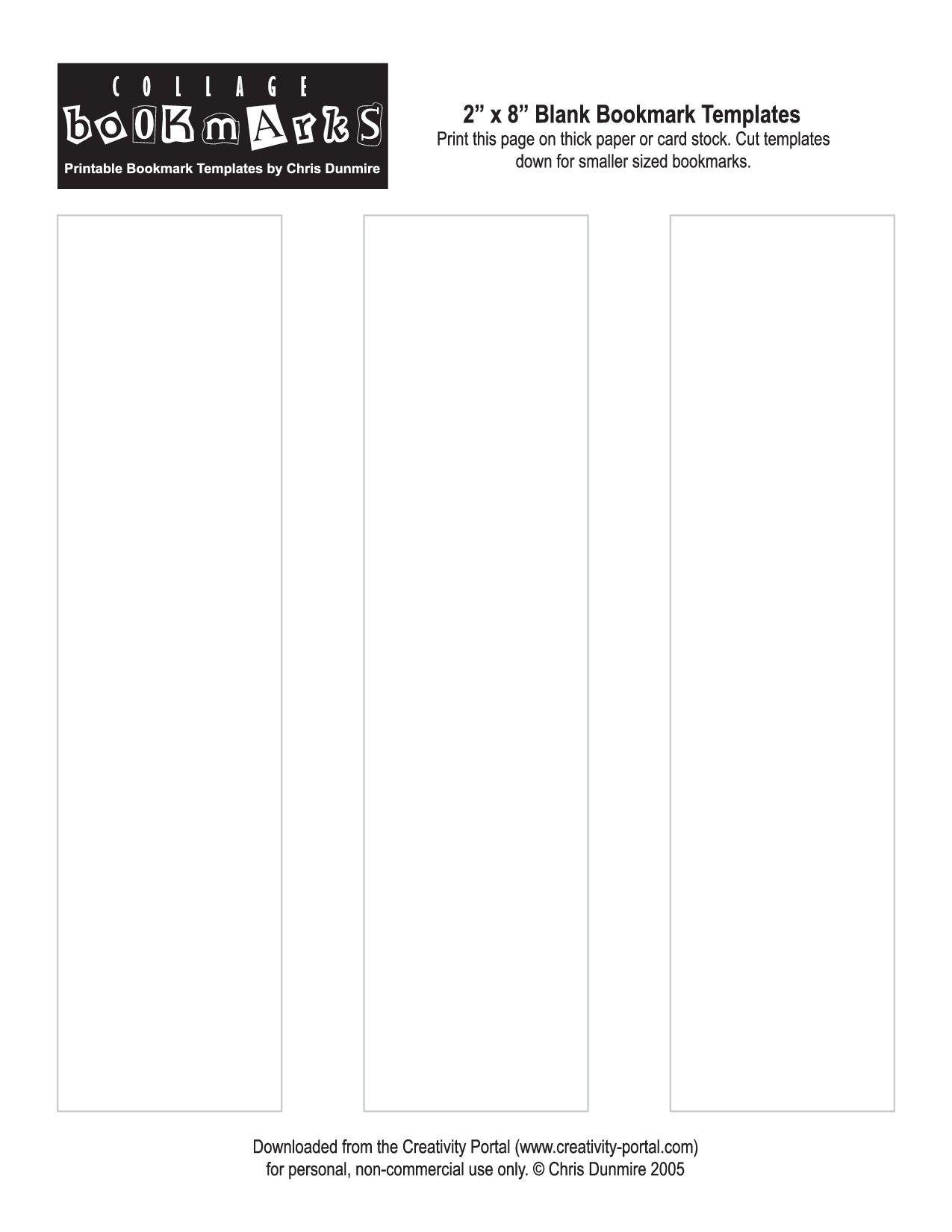 blank bookmark template printable printables pinterest