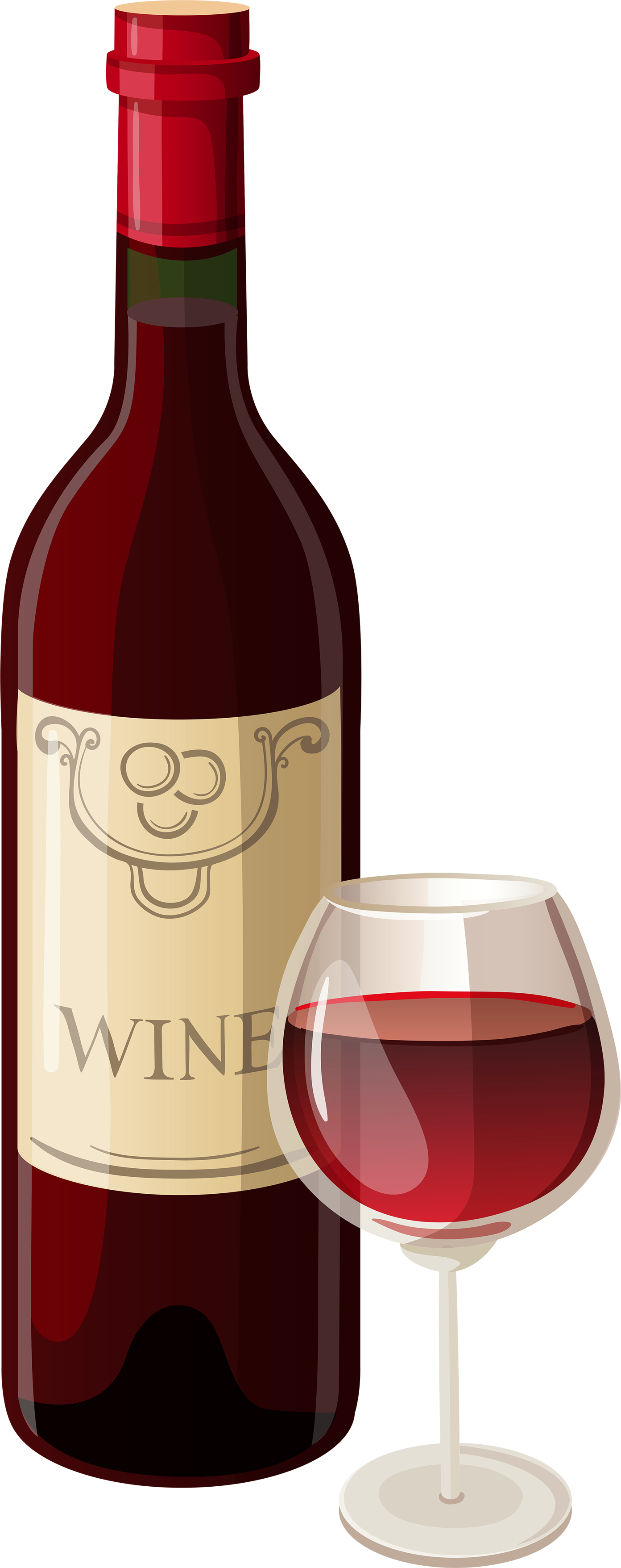 image result for wine bottle and glass clip art [ 1392 x 3511 Pixel ]